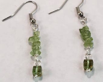 Handmade Genuine Green Peridot Gemstone Earrings Genuine Peridot earrings Genuine Peridot jewelry Handmade Dangle earrings boho earrings