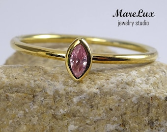 14K Yellow Gold Marquise Pink Diamond Ring, Pink Diamond CZ Marquise Stackable Solid Gold Ring, Stacking Pink Cubic Zirconia Promise Ring