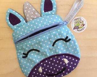 Unicorn coin purse, unicorn small purse, unicorn fabric purse, unicorn gift, pocket money purse, pink unicorn, blue unicorn, child's purse