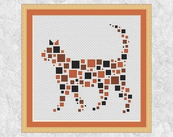 Geometric cat cross stitch pattern, simple, modern, quick and easy embroidery design, learn to cross stitch, beginners instructions, fun PDF
