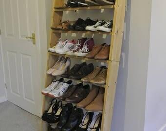 8 Shelf Solid wood oak style foldable ladder shelf shelves 1.8m tall