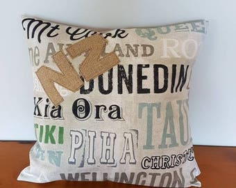 New Zealand Place Name cushion cover.   18 x 18 inches.  Made in New Zealand ready to be shipped.