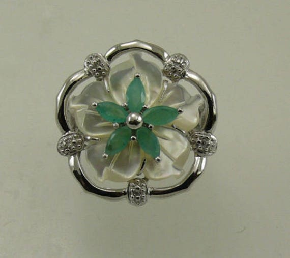 Mother of Pearl, Emerald and Diamond Ring with Sterling Silver Setting