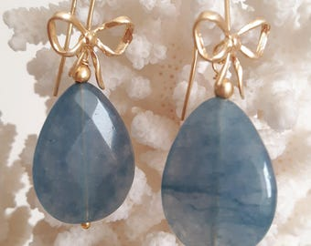 Dangling gemstone drops angelite and silver flakes