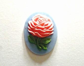 Set of 2 large oval resin cabochon rose on blue background - 30 mm * 40 mm