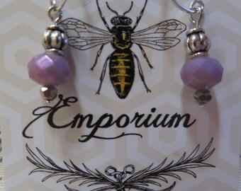 Lavender drop bead earrings - silver sterling hooks