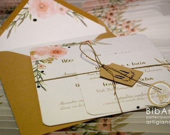 Participation Wedding flowers shabby shic without cover envelope