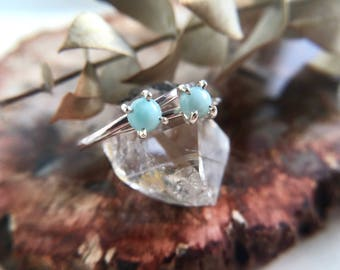 Larimar, Sterling Silver. Dainty Larimar Ring. Gemstone Stacking Ring. Gifts for Her. Alternative Bride. Silver gem ring.