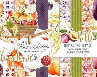 Digital Paper, Paper Pack ,Fall Background ,Pumpkin, Scrapbook ,Watercolor ,Thanksgiving Digital Paper, Supplies, pattern