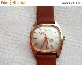 SALE Rare Swiss watch Cauny Apollon gold plated case MECHANICAL
