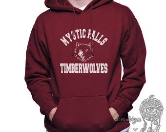 Mystic Falls Timberwolves white print printed on Unisex Hoodie
