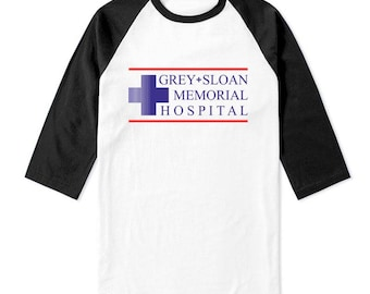 JUST Logo Grey Sloan Memorial Hospital on 3/4 Sleeve Baseball Raglan Tee T-shirt