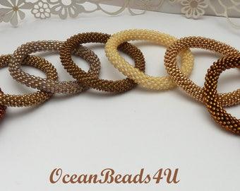 Golden/Yellow/Orange Roll on Beaded Bracelets, Beaded Crochet Rope, Nepal Bracelet,Bangle, Golden Bangle, Armband