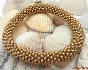 Gold Roll on Beaded Bracelet/ Bangle / Nepal Bracelet/ Armband/ Gold Bracelet