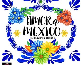 Mexican Wedding, Talavera Mexicana, Colorful Mexican Flolk Art, Clipart PNG, DIY projects, Wedding invitations, Flores Mexicanas,