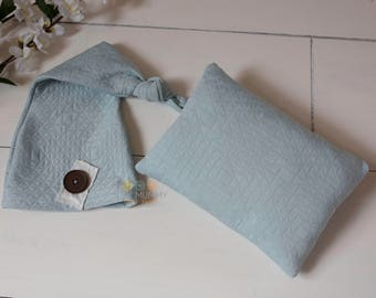 Photography prop newborn upcycled sleep hat with matching pillow, ready to send