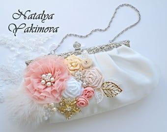 Bridal Clutch, Flower Wedding Purse, White Wedding Clutch, Satin Clutch, Bridal Handbag, Formal Clutch Bag Flower Wedding Purse, Peach, Gold