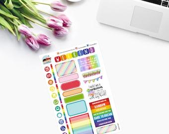 RAINBOW Sampler ~ VIBRANT COLOURS ~ Planner Stickers - CAM00083