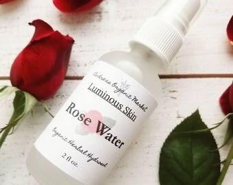 Organic Rose Water, Rose Hydrosol, Rose Toner, Organic Hydrosol, Organic Skin Care, Vegan Skin Care, Facial Care, Natural Skin Care