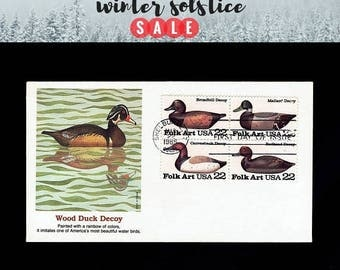 US 2138-41 Folk Art: Duck Decoys Block of 4 May 22, 1985 Shelburne VT - Fleetwood - First Day Cover lot #F2141a-1