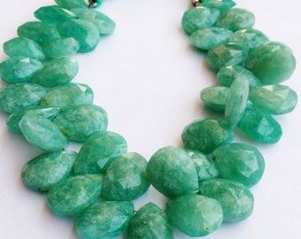 "1 Strand Natural Amazonite 14-15mm  Faceted Flat Pear Gemstone Beads 8"" long strand By SHAMSHAD GEMS"