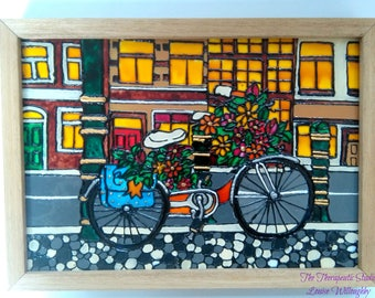 Bicycle, painting, bicycle art, bike, floral art, urban landscape, hand painted, glass, framed
