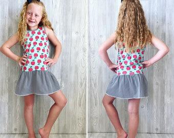 Big Kid Organic Cotton Girls Dress Apple print with black & white trim