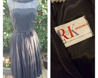 R&K Originals Black 1950's Dress - 1950's Illusion Neckline