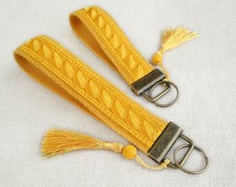 Yellow Keychain Wristlet Key Chain, Key Fob Wristlet, Short Lanyard, Tassel Keychain, Birthday Gift, New Home Gift, Housewarming, Keyfob