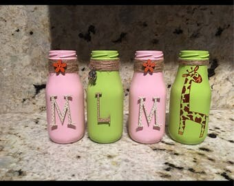 Nursery or baby shower milk bottles with name