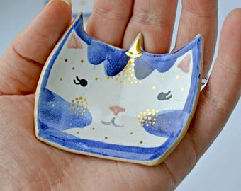 Unicorn-Cat Ring Holder, Ceramic Cat Ring Dish, Decorated with Genuine Gold
