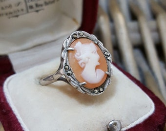 Vintage Sterling Silver Ring, Cameo Ring, Marcasite, Size L
