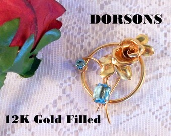Brooch Pin DORSONS 12K Green & Yellow Gold Filled Floral Brooch with Lovely Large Aqua Rhinestone Accents Circa 1940's