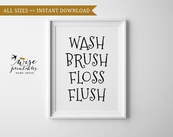 Bathroom Reminder, Black White Kids Bathroom Rules Poster, Wash Brush Floss  Flush Funny Sign