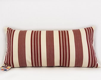 Pillow Cover with Cinnabar Red Stripes on Cream, Farmhouse Pillow Cover in Red and Cream Woven Cotton, Pillow Cover in Custom Sizes