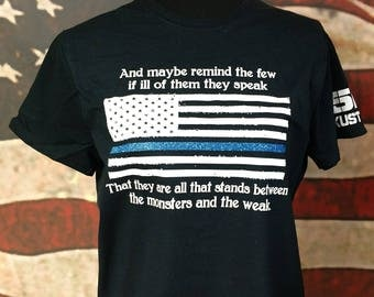 Blue Line Tshirt- Monsters and the Weak-Police- Sheriff- Support- Ladies- Glitter