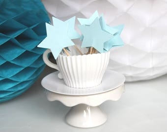10 cupcakes (cupcake toppers) toppers - blue stars
