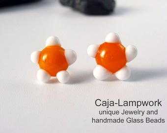 Small white-orange flowers, earplugs made of glass, lampwork earplugs