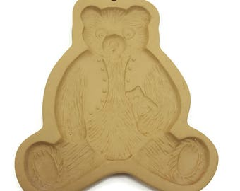 Vintage Brown Bag Cookie Art Mold- 1984 Teddy Bear in Vest w/ Toy- Stoneware Baking Mold- Rustic Country Kitchen Tool- Paper Mache Mold-