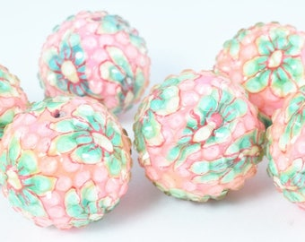 22mm  Flower Textured Resin Wooden Round Beads, Wooden beads, Wholesale Bead, Basketball Wives Bead,Rhinestone Beads,Resin beads