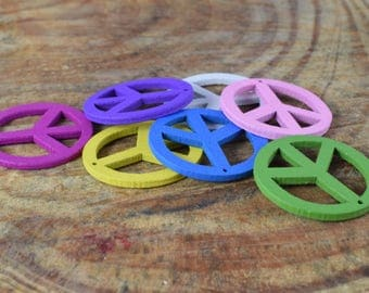 25mm Assorted Color Peace Sign Painted Wood Beads, Painted Peace Symbol Wood Beads, Necklace Bracelet Wood Bead, Colorful flat Round Bead