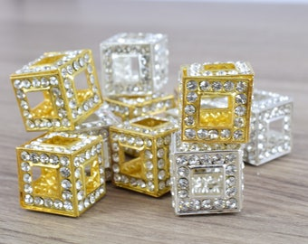 14mm Crystal Rhinestone Pave Big Hole Square Cube Spacer Beads,6 PCs for Jewelry Making, Craft Supplies, Tools,Findings, Crystal,Rhinestones