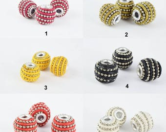 14x13mm Indonesian Clay Beads Handmade Beads 6 PCs, Bohemian Bali Style Jewelry Making Decorative Round Beads