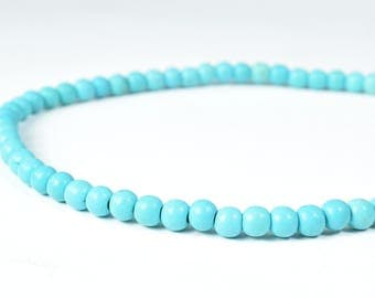 6mm Petite Turquoise Round Beads,Sold by 1 strand of 49pcs, 1.5mm hole opening,Wholesale Gemstones,Beading, Blue Beads, Wholesale Turquoise,