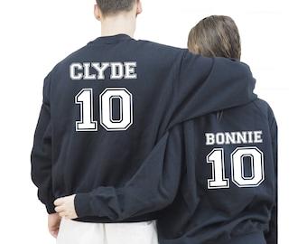 Bonnie Clyde sudaderas para pareja, Bonnie y Clyde sudaderas Unisex personalizadas, regalo aniversario boda, regalo San Valentín
