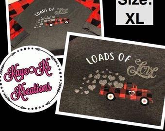 Size XL Raglan Buffalo Plaid Valentines Day