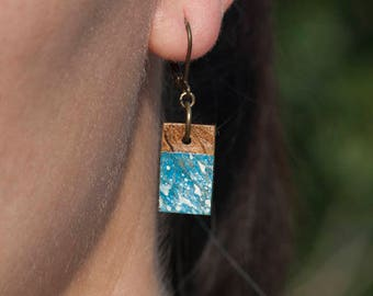 Blue coconut earrings