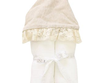 Linen and Lace Hooded Towel | Full Size Toddler Hooded Towel | Linen and Ivory Lace | Baby Shower Gift | Girl Shower Gift