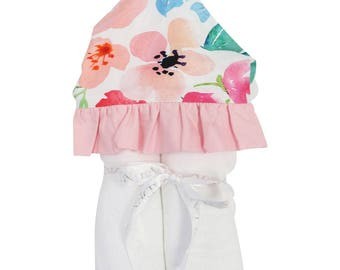 Fairy Tale Floral | Full Size Toddler Hooded Towel | Pink and Peach | Baby Shower Gift | Girl Shower Gift