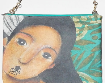 Eco Friendly Leather Clutch, Wahine by ChiarArtIllustration